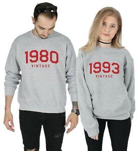 Personalised Date Vintage Jumper Sweatshirt Birthday Gift Dad Mum Son 40's 50's