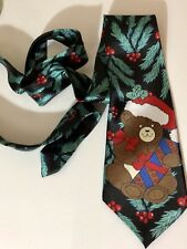 Mens 100% Polyester Christmas Bear Neck Tie EC