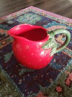 "Vintage Ceramic Strawberry Pitcher 6.5"" Red Green Handle handpainted Unique"