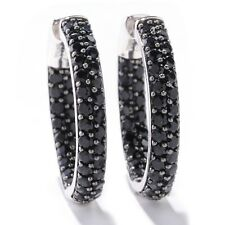 Sterling Silver 3.84ctw Black Spinel Inside Outside Hoops Earring 1.00'L