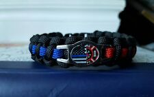 Police Firefighter Thin Blue Red Line Paracord Bracelet - FREE SHIPPING