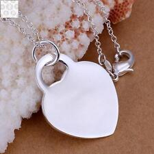 925 GORGEOUS LARGE FLAT HEART PENDANT NECKLACE LOVERS VALENTINES DAY GIFT