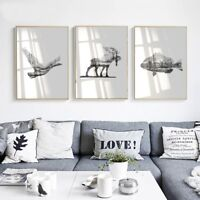 Nordic Art Deer Bird Silhouette Canvas Poster Prints Pictures for Living Room