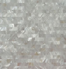 White brick shell mosaic mother of pearl groutless kitchen backspalsh wall tile