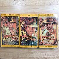 Lot of 3 VHS Tapes Indiana Jones Raiders + Temple of Doom + Last Crusade