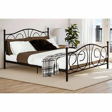 Queen Bed Size Metal Bronze Finish Victorian Style Modern Decor Furniture