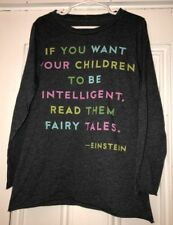 Peek Girls Einstein Intelligent Children Read Fairy Tales Quote Shirt Sz Lg 8