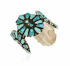 Turquoise Gemstone Cuff Bracelet 98.6 gr Stunning Pure 925 Sterling Silver Fine