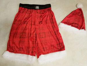 Men's Christmas Santa Long Boxer Shorts & Hat- M
