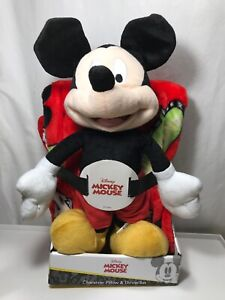 "NEW Disney MICKEY MOUSE 40"" x 50"" Soft THROW BLANKET & PILLOW Plush Figure"