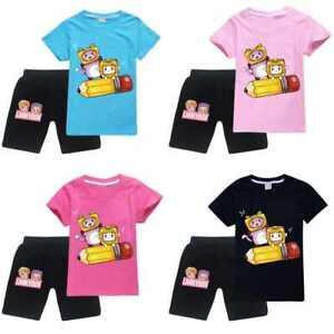 LANKYBOX Kids T-Shirt Summer Boys Girls Gamer Gaming T shirt Top+Shorts Set 2pcs