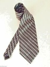 Bergamo New York Black & Silver Silk Tie Classic Wide Necktie Geometric