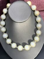 """Ladies Women's Vintage White Lucite Moon Glow Large Beaded Necklace 16"""""""