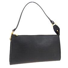 LOUIS VUITTON POCHETTE ACCESSOIRES HAND BAG POUCH BLACK EPI M52942 AK43822