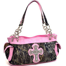 MOSSY OAK LICENSED CAMOUFLAGE & PINK CROSS  PURSE,  CAMO HANDBAG