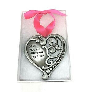 Mom You Are Always in My Heart Gift Boxed Hanging Wall Ornament with Ribbon