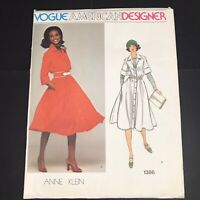 Vintage Vogue Sewing Pattern 1386 Size 14 Anne Klein Button Down Dress Collar L
