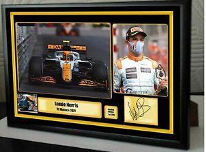 "Lando Norris Monaco Podium 2021 F1 Framed Canvas Signed Print ""Great Gift"""
