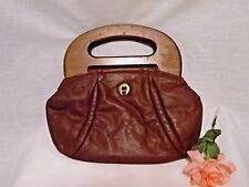 Vintage Etienne Aigner Brown Leather Purse Wood Handle Clutch Bag