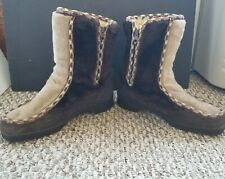 Vintage Womens snowland Faux Fur Sherpa Lined Winter Boots Sz 8