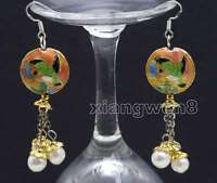 Big 18mm Round Pink Cloisonne & 6-7mm White Natural Pearl Dangle earring-ear526