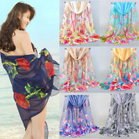 Women Flowers Printed Scarves Chiffon Rose Feathers Silk Shawl Scarf Acces Gifts