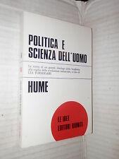 POLITICA E SCIENZA DELL UOMO David Hume Lia Formigari Riuniti 1975 filosofia di