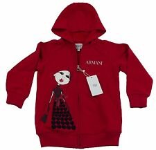 Armani Junior Girls Red Zip Hoodie/Jumper 100% Genuine Luxury SZ 4yrs/106cm BNWT