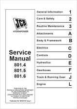 JCB Service 801.4 801.5 801.6 Mini Tracked Excavator Service Manual (B75)