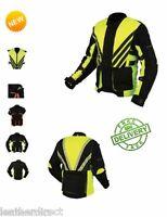 Mens Sport Hivis Textile Motorcycle Jacket Armoured Waterproof Wind Vest Orange