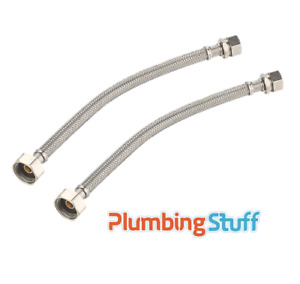 """Flexible Tap Connector 15mm compression x 1/2"""" BSP 30mm - Basin TWIN PACK x2"""