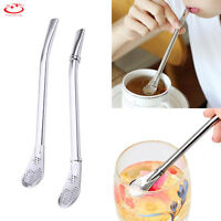 Drinking Tea Stainless Steel Straw With Filter Spoon Bombilla Stirring Stick NEW