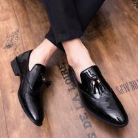 Mens Dress Formal Black Leather Shoes Slip on Pointy Toe Business Work Tassels