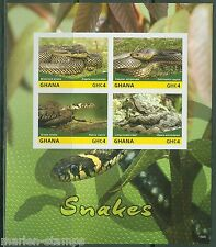 GHANA FIRST TIME OFFERED IMPERFORATED  SNAKES  SHEET I MINT NH