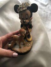 Disney Anri Miniature Wood Carving Minnie Mouse w/ Lamb & Flowers On Head!