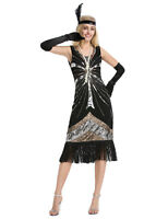 1920s Women Flapper Clubwear Party Gatsby Shiny Sequins Tassel Cocktail Dresses+