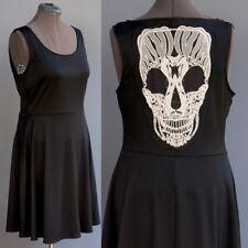Torrid Black Pin Up Girl Dress See Thru Skull Crochet Cutout Applique size XL-1X