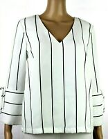 H&M Tunic Top Blouse Size Women 2 White Black Stripes 3/4 Cuffed Sleeve V-Neck