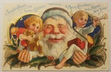 Vintage c1910 Postcard- Santa & His 2 Children Wishing You a Merry Christmas...