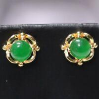 Vintage Antique Green Jade Earrings 14k Yellow Gold Plated Women Wedding Jewelry