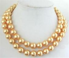 """10mm Natural Gold south sea shell pearl necklace 35""""AAA"""