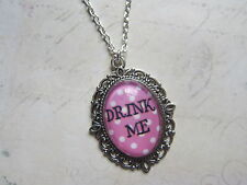 Handmade Vintage Silver Alice in Wonderland Pink Drink Me Cameo Necklace New
