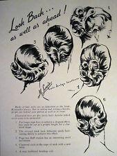 """1959 Vintage M. Louis Salon Ladies Haircut Sketch """"BACK CUT DESIGNS"""" Sign Ads"""