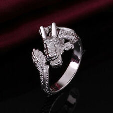 925 Sterling Silver Plated DRAGON RING Thumb/ Wrap Ring. ADJUSTABLE. Men Ladies