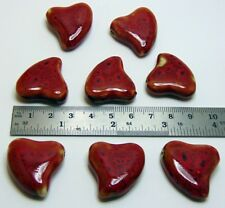 10 ea Twisted RED Porcelain HEART Bead 28mm (1+ Inches) Shiny Valentine Pendant