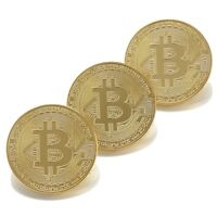 Bitcoin Gold Plated BTC Token Miner Cryptocurrency Commemorative Collection 3 pc