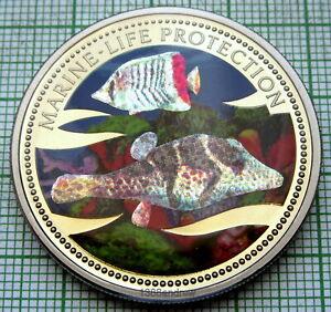 PALAU 2002 1 DOLLAR, MARINE LIFE PROTECTION - PUFFERFISH WITH GLITTERS, COLOURED
