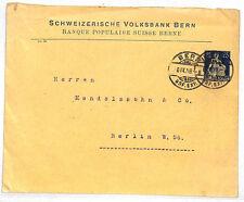 Vv222 1909 Switzerland Banking Bern Berlin Germany Yellow Env {samwells-covers}
