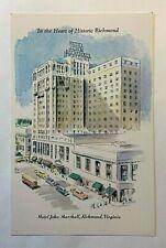 "Vintage 1950-60's ""Hotel John Marshall"" Heat of RICHMOND, Virginia CHROME PC 513"