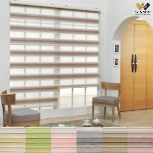 WINNOV Gradient Zebra Window Blinds Sheer Roller Dual Shade Home Custom Made